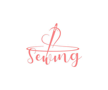Fashion clothing boutique  design. Clothes hanger with heart and and threading needle vector design. Tailor accessories for handmade needlework logotype