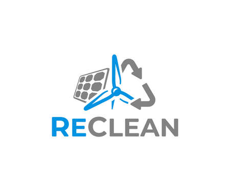 Clean electric energy logo design. Photovoltaics solar panel and wind turbine power station alternative energy generating electricity vector. Sustainable energy from renewable sources sun and wind