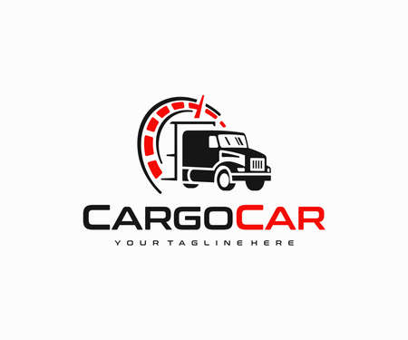 Truck of industrial cargo freight logo design. Transportation and logistics, import, export vector design. Lorry cargo transport delivery logotype Stock Illustratie