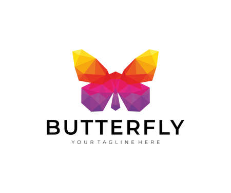 Butterfly Colorful Polygon Logo Design Stock Illustratie