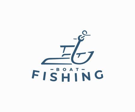 Fishing boat logo design. Fishing hook and ship vector design. Fishing boat sailing logotype