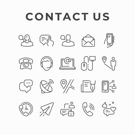 Contact us icon design.  Hotline customer service vector icon set. Call center and e-mail marketing