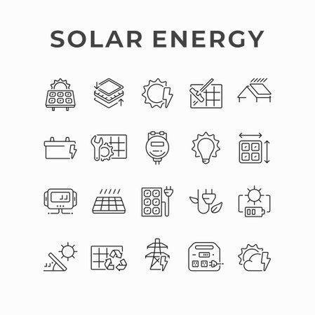 Photovoltaics solar panel generating electricity icon design. Solar power station, alternative energy line vector icons. Green renewable energy and sustainability development