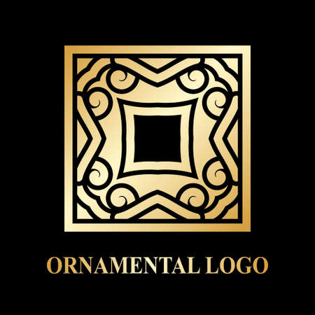qigong: Luxury ornamental logotype. Vintage logo with golden gradient.