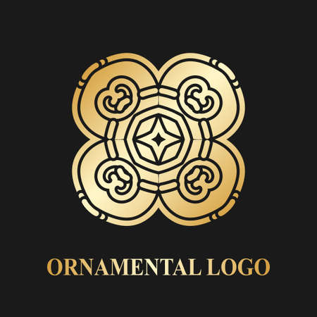 Luxury ornamental logotype. Vintage logo with golden gradient.