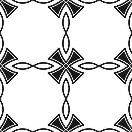Abstract seamless black and white color pattern for wallpapers and backgrounds. Vector template can be used for design of wallpaper, fabric, oilcloth, textile, wrapping paper and other Illustration