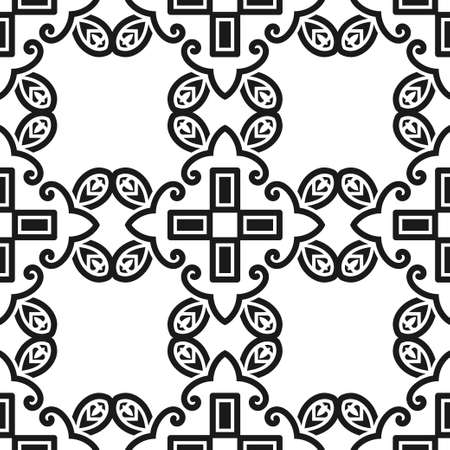 victorian wallpaper: Abstract seamless black and white color pattern for wallpapers and backgrounds. Vector template can be used for design of wallpaper, fabric, oilcloth, textile, wrapping paper and other Illustration