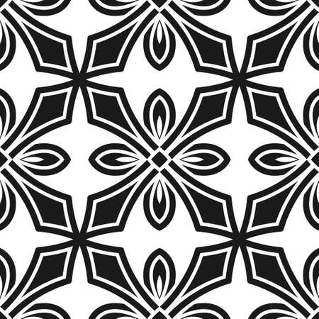 Abstract seamless black and white color pattern for wallpapers and backgrounds. Vector template can be used for design of wallpaper, fabric, oilcloth, textile, wrapping paper and others.