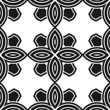 mosaic: Abstract seamless black and white color pattern for wallpapers and backgrounds. Vector template can be used for design of wallpaper, fabric, oilcloth, textile, wrapping paper and other Illustration