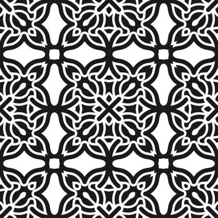 gentle: Abstract seamless black and white color pattern for wallpapers and backgrounds. Vector template can be used for design of wallpaper, fabric, oilcloth, textile, wrapping paper and other Illustration