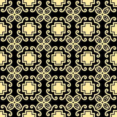 grid: Seamless vintage wallpaper pattern. Ornamental decorative background. Vector template can be used for design of wallpaper, fabric, oilcloth, textile, wrapping paper and others