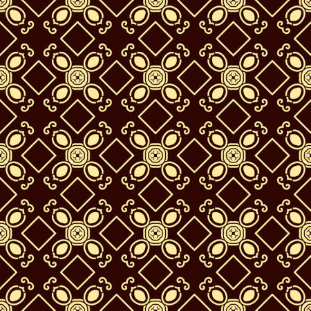 metal grid: Seamless vintage wallpaper pattern. Ornamental decorative background. Vector template can be used for design of wallpaper, fabric, oilcloth, textile, wrapping paper and other design Illustration