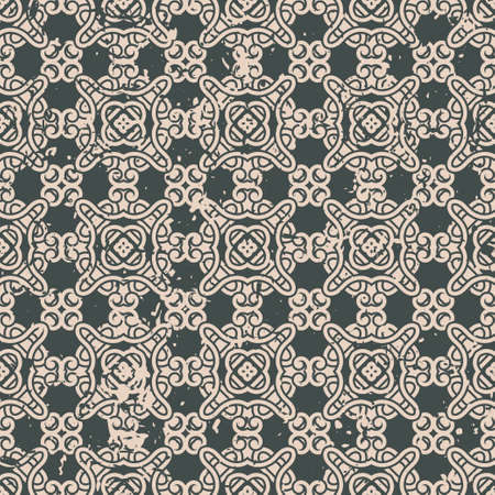 fade: Abstract vintage ornamental pattern with fading and scratches, paint splashes. Vector template can be used for design of wallpaper, fabric, oilcloth, textile, wrapping paper and other design Illustration