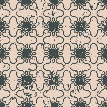paint can: Abstract vintage ornamental pattern with fading and scratches, paint splashes. Vector template can be used for design of wallpaper, fabric, oilcloth, textile, wrapping paper and other design Illustration
