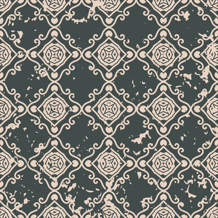 continue: Abstract vintage ornamental pattern with fading and scratches, paint splashes. Vector template can be used for design of wallpaper, fabric, oilcloth, textile, wrapping paper and other design Illustration