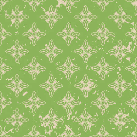 Abstract vintage ornamental pattern with fading and scratches, paint splashes. Vector template can be used for design of wallpaper, fabric, oilcloth, textile, wrapping paper and other design Ilustrace