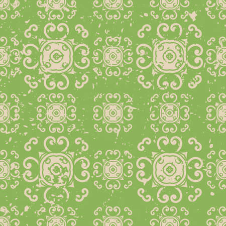 Abstract vintage ornamental pattern with fading and scratches, paint splashes. Vector template can be used for design of wallpaper, fabric, oilcloth, textile, wrapping paper and other design Illustration