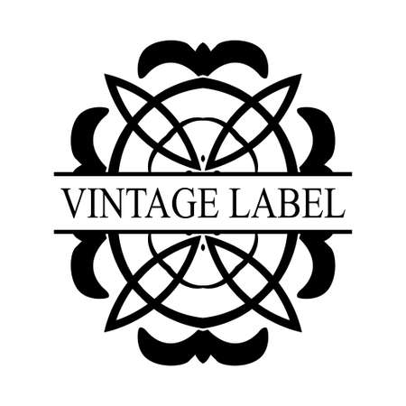 Retro ornamental label logo. Vintage luxury logotype for design of labels