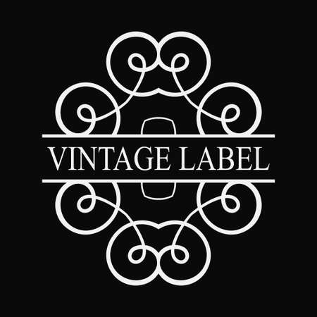 Vintage ornamental label logo. Template for design of logotypes or labels Illustration