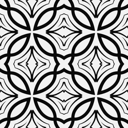 Retro ornamental seamless pattern in black and white Illustration.