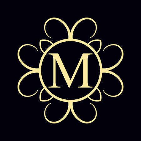 Vintage ornamental monogram. Retro luxury logo for design with ornate elements and place for letter or text