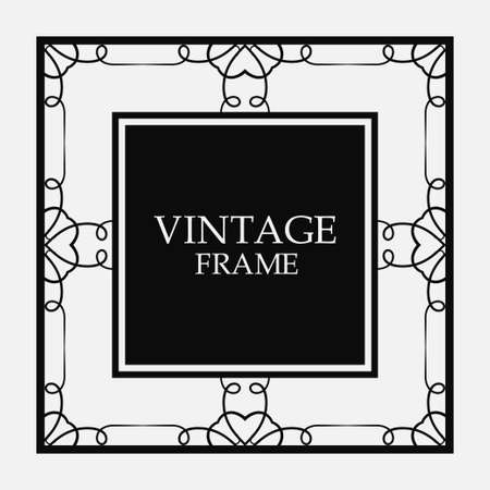 Vector vintage border frame. Decorative design Stok Fotoğraf - 101003251