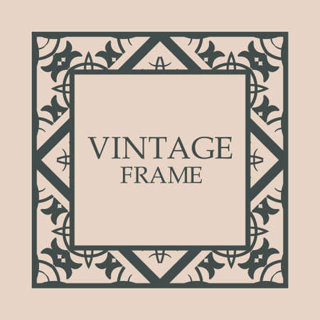 Vintage retro style invitation in Art Deco. Art deco border and frame. Creative template in style of 1920s. Vector illustration. EPS 10 矢量图像