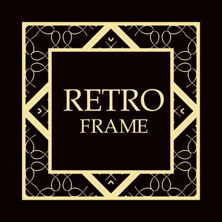 Art decor vintage retro frame. Template for design.
