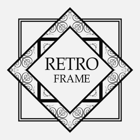 Vintage retro style invitation in Art Deco. Art deco border and frame. Creative template in style of 1920s. Vector illustration. EPS 10 Иллюстрация
