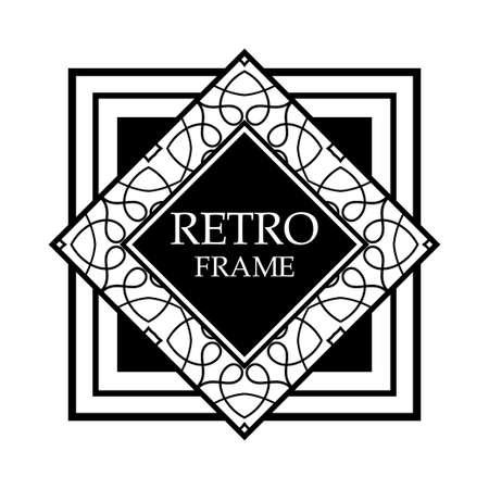 art deco black ornamental decorative frame vintage template royalty