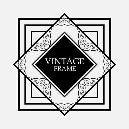 Art Deco black ornamental decorative frame. Vintage template