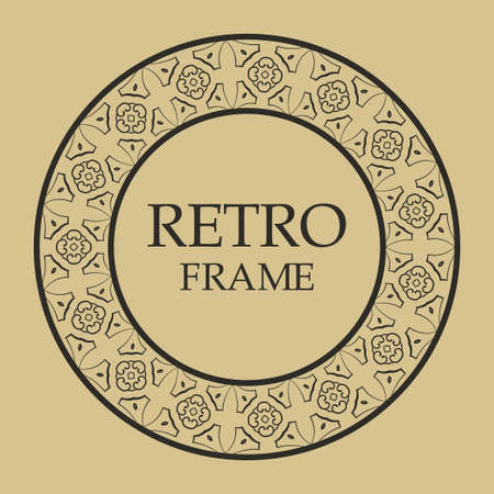 Decorative round ornamental vintage retro frame for design