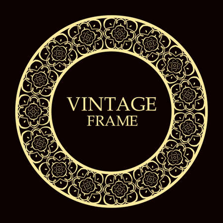 Retro ornamental round frame, Circular ornament design element Illustration