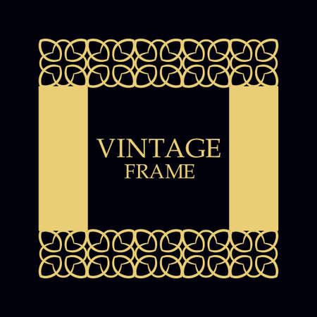 Vintage ornamental border frame on dark background  イラスト・ベクター素材