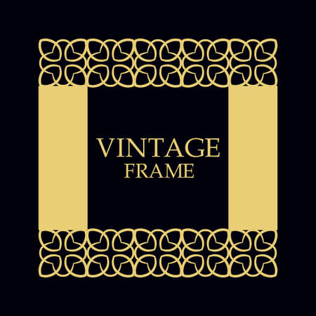 Vintage ornamental border frame on dark background 矢量图像