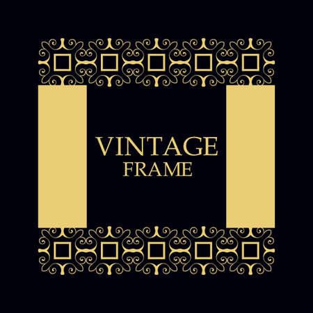 Vintage ornamental border frame on dark background Illustration