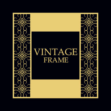 Vintage ornamental border frame on dark background Illustration