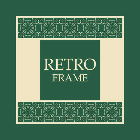 Vector vintage border frame with retro ornament pattern. Decorative design