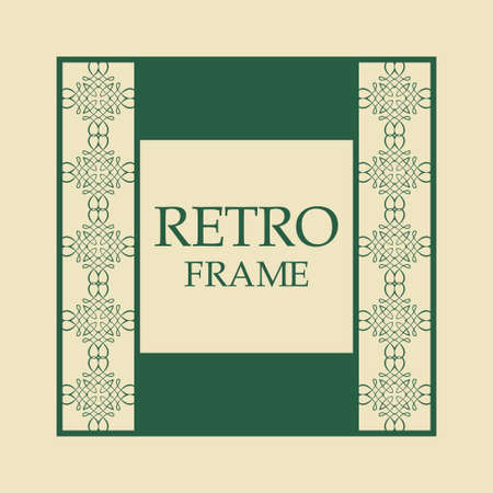 Vector vintage border frame with retro ornament pattern. Decorative design Ilustrace