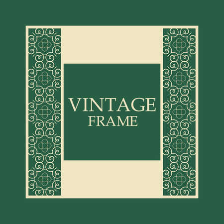 Vector vintage border frame with retro ornament pattern. Decorative design 일러스트
