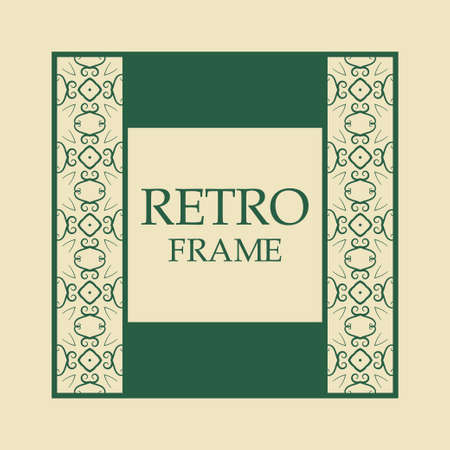 Vector vintage border frame with retro ornament pattern. Decorative design Ilustração