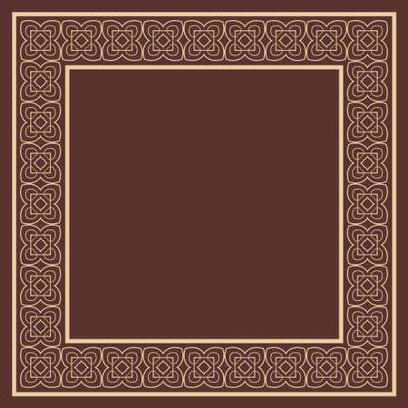 Vector vintage border frame with retro ornament pattern. Decorative design Archivio Fotografico - 102468598
