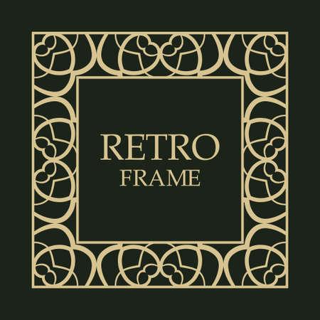 Ornate vintage card design with ornamental border frame. Use for wedding invitations, royal certificates, greeting cards. Vector illustration.