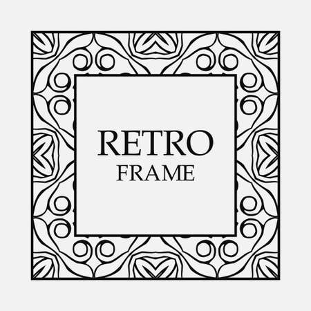 Vintage ornament greeting card vector template with place for text. Flourishes frame. Archivio Fotografico - 102689231