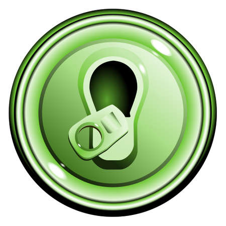 Button top opened green can of beer, on the white background isolated Vector