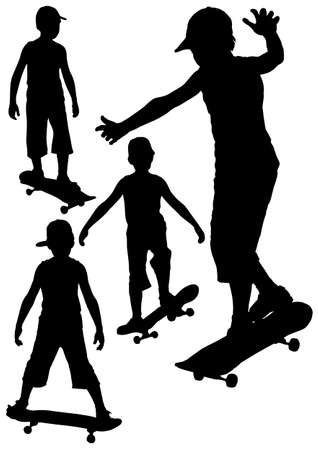 Boy on skateboard silhouette collection on a white background