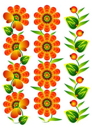 bloemen en decoratieve elementen collectie folk rood op een witte achtergrond
