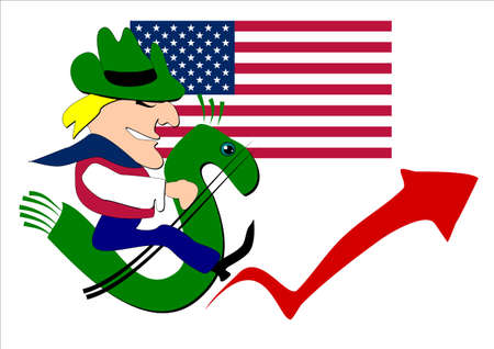 u s  flag: man saddled a horse in the form of a stylized dollar sign with a U S  flag and an arrow of economic growth