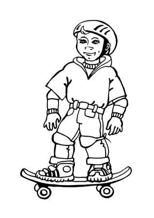 boy on the skateboard sketch Vector