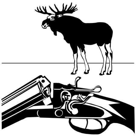 moose hunting: hunting rifle with wild moose black silhouette on the white background vector EPS10